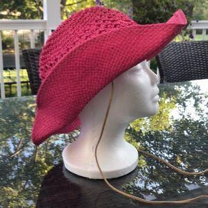 Vintage Guess Pink Straw Cowboy Hat